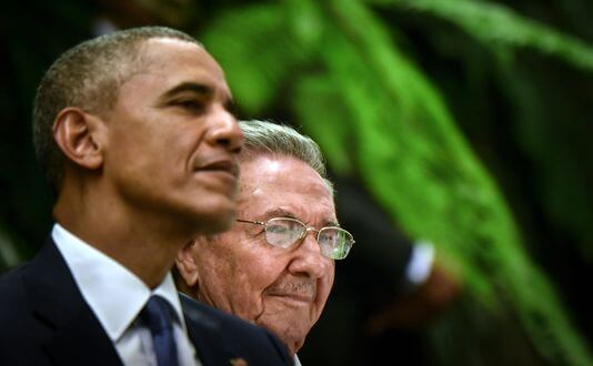 Barack Obama and Raoul Castro | ADALBERTO ROQUE / AFP