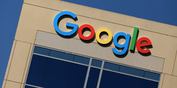 Google logo on office building in Irvine, California