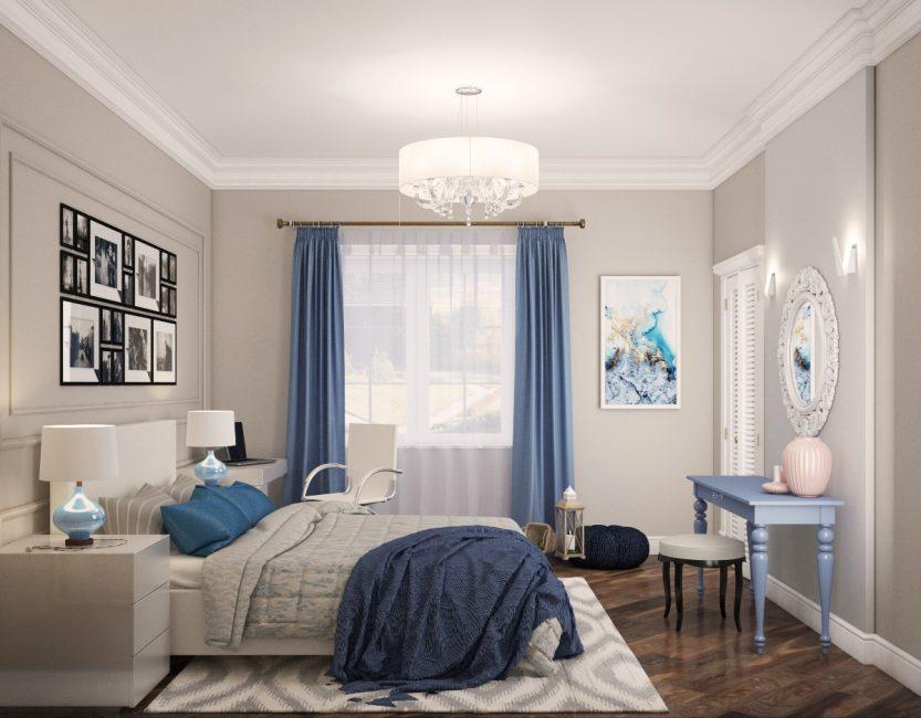 Foto circa camera da letto principale in stile americano letto matrimoniale con la testata bianca e la lettiera piacevole vista del balcone. Appartamenti Progettati In Stile Americano 155 Foto Interni