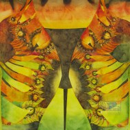 "Aztec Gold.Watercolour on Gessoed Paper. 20x20"". $625.00, framed. Lianne Todd"