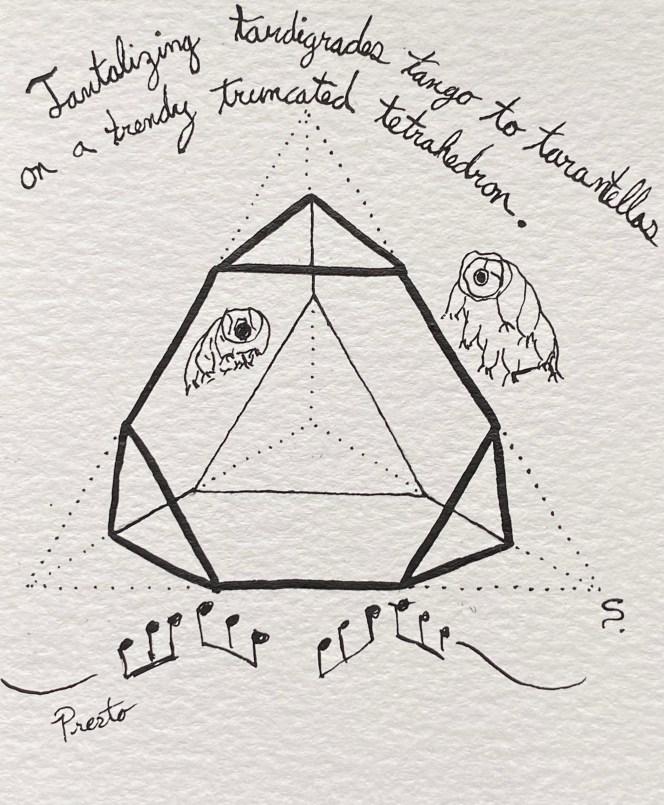 10/13/20: Truncate - Tantalizing tardigrades tango to tarantellas on trendy truncated tetrahedrons.