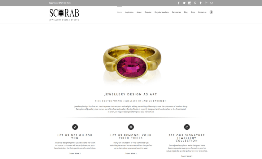 Jewellery Website Marketing - Scarab Jewellery Studio - Main Site