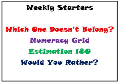 weekly starters