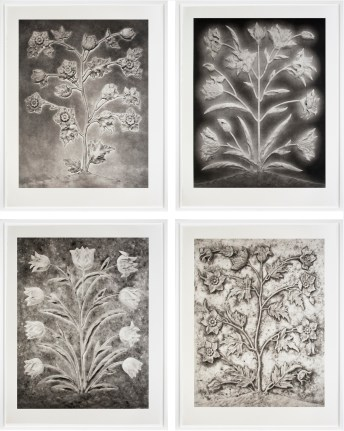 A grid of four black-and-white photographs of pressed metal panels with various decorative stem of leaves and flowers