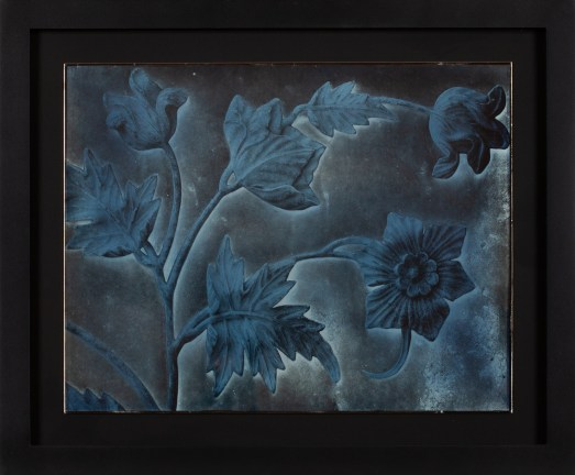 Photographic negative of a pressed metal plate decorated with stems of leaves and flowers