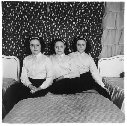 Triplets in their bedroom, N.J. 1963, gelatin-silver print
