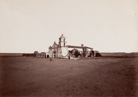 Albumen photograph of a Spanish mission-style building on a wide plain