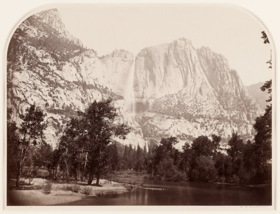Yosemite Falls (River View), 2477 ft., 1861, mammoth-plate albumen print on