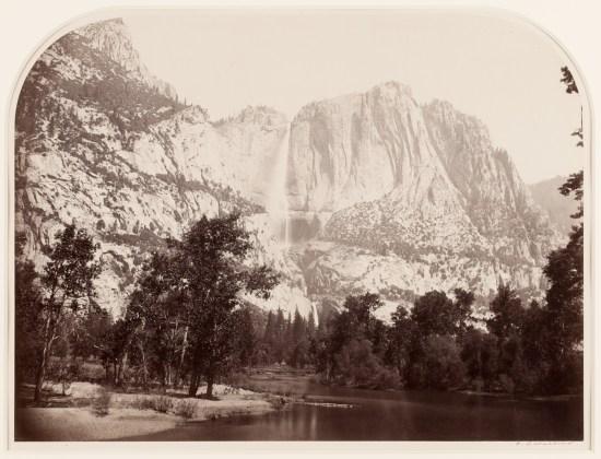 Yosemite Falls (River View), 2477 ft., 1861, mammoth-plate albumen print on  original mount