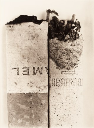 Beige-toned close-up photograph of a flattened half-smoked cigarette