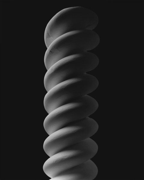 Black-and-white photograph of a helical twist of two touching strands