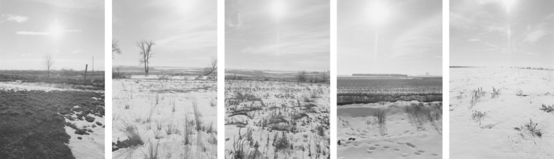 Five black-and-white photographs depicting an open field with light snow and a brightly lit sky.
