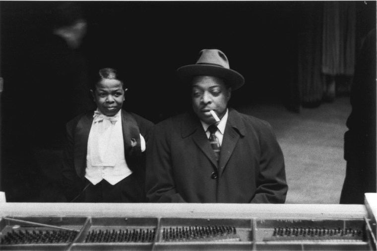 Pee Wee Marquette and Count Basie, 1956, gelatin-silver print