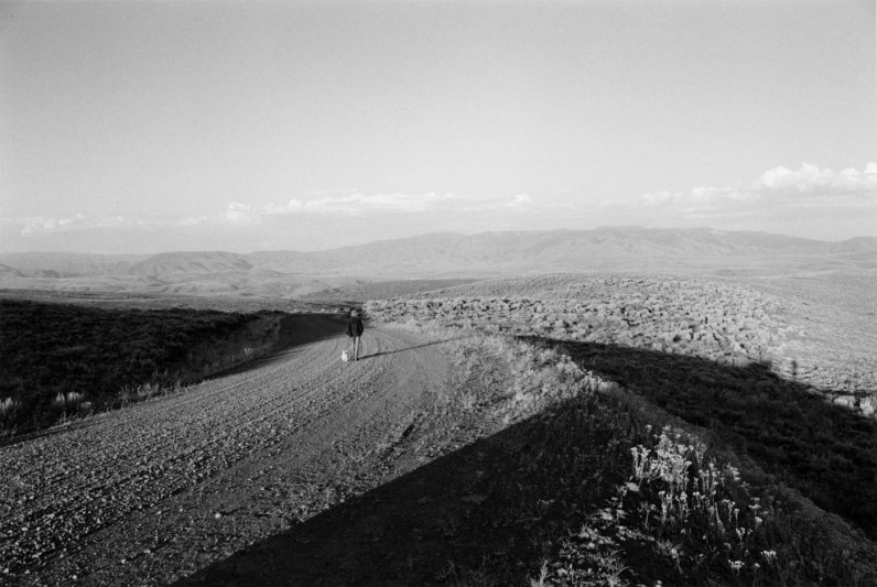 Black-and-white photograph of a woman and a small dog walking on a dirt road with mountains in the distance