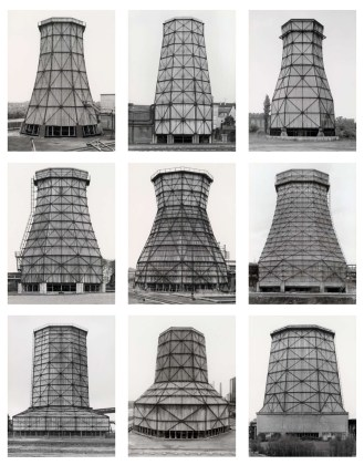 Cooling Towers, Ruhr District, 1983, typology consisting of nine gelatin-silver prints