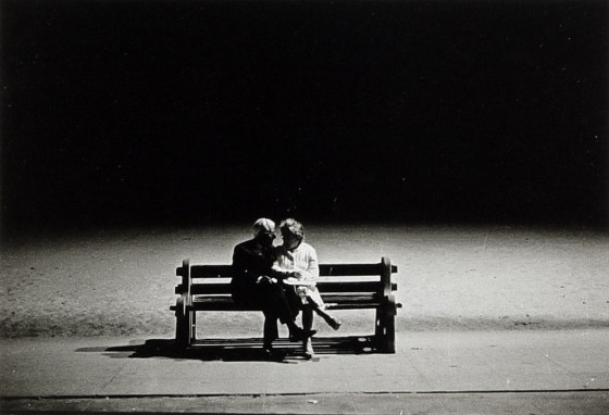 Old couple on a bench at night, Santa Monica, Cal., 1962, gelatin-silver print