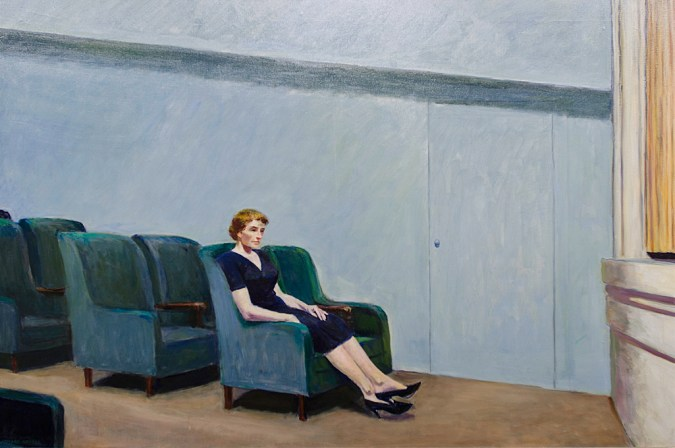 Painting of a lone woman seated in an empty theater setting by the stage