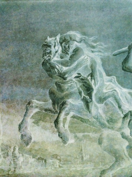 Inverted color photograph of a low-relief sculpture of a woman riding a centaur