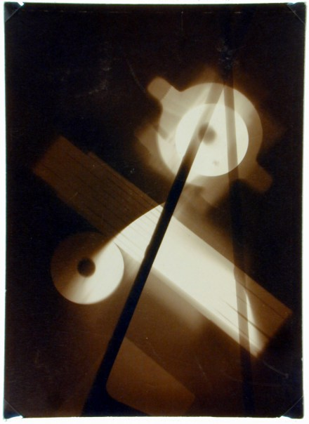 Black and white photogram of intersecting rectangles and circles of light