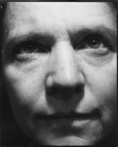 Black and white photograph of a close up face