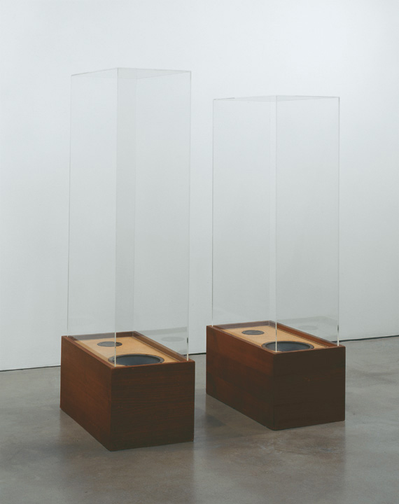 Two speakers lying flat on the ground with tall rectangular glass coverings over each one