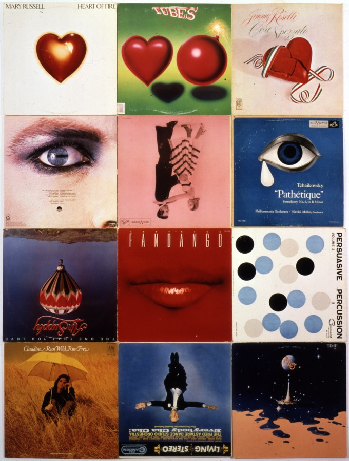 A three-by-four vertical grid of record covers of various illustrations including hearts and faces