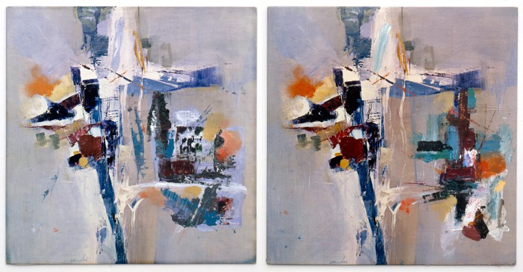 Factum I and Factum II, 1990, diptych, acrylic on two record covers