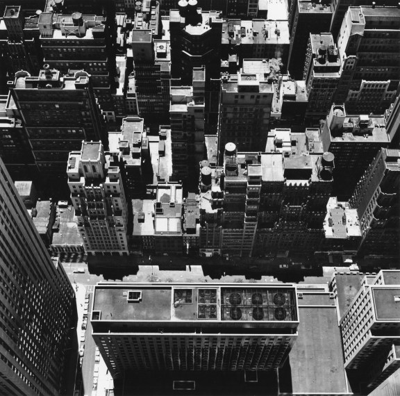 New York Roofs From Above, 1976, gelatin-silver print