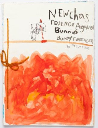 """Newcha's Revenge Against Bunnies Bunny Revenger"", 2014, hand-bound artist book, acrylic and ink on paper"