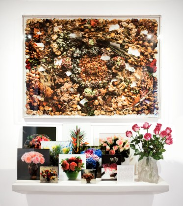 In Memory of Frank Gehry's Flowers, 2014, pigment print with hand-cut edge,   accompanied by eleven two-sided photographs &   vase designed by Frank Gehry, arranged on shelf