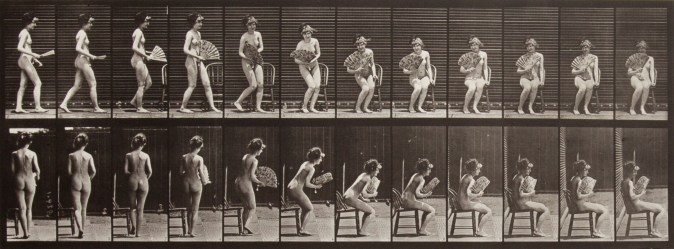 Two rows of black and white photographs of a nude woman sitting down in a chair and opening a fan.