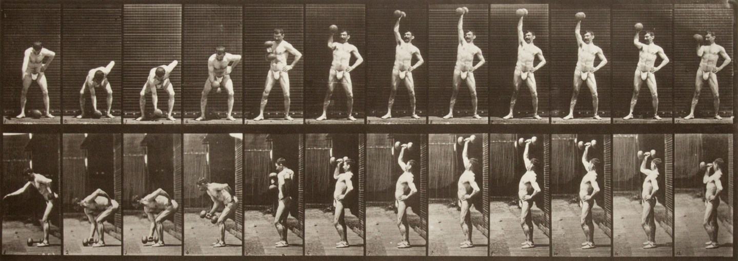 Two rows of small black and white photographs of a nude man lifting a dumbell from the ground and holding it over his head.