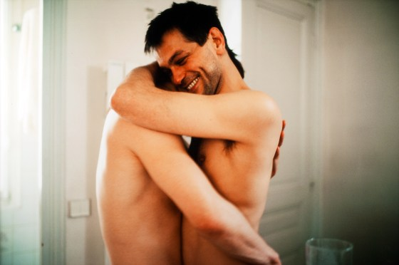 Nan Goldin, Clemens and Jens embracing in my hall, Paris, 2001