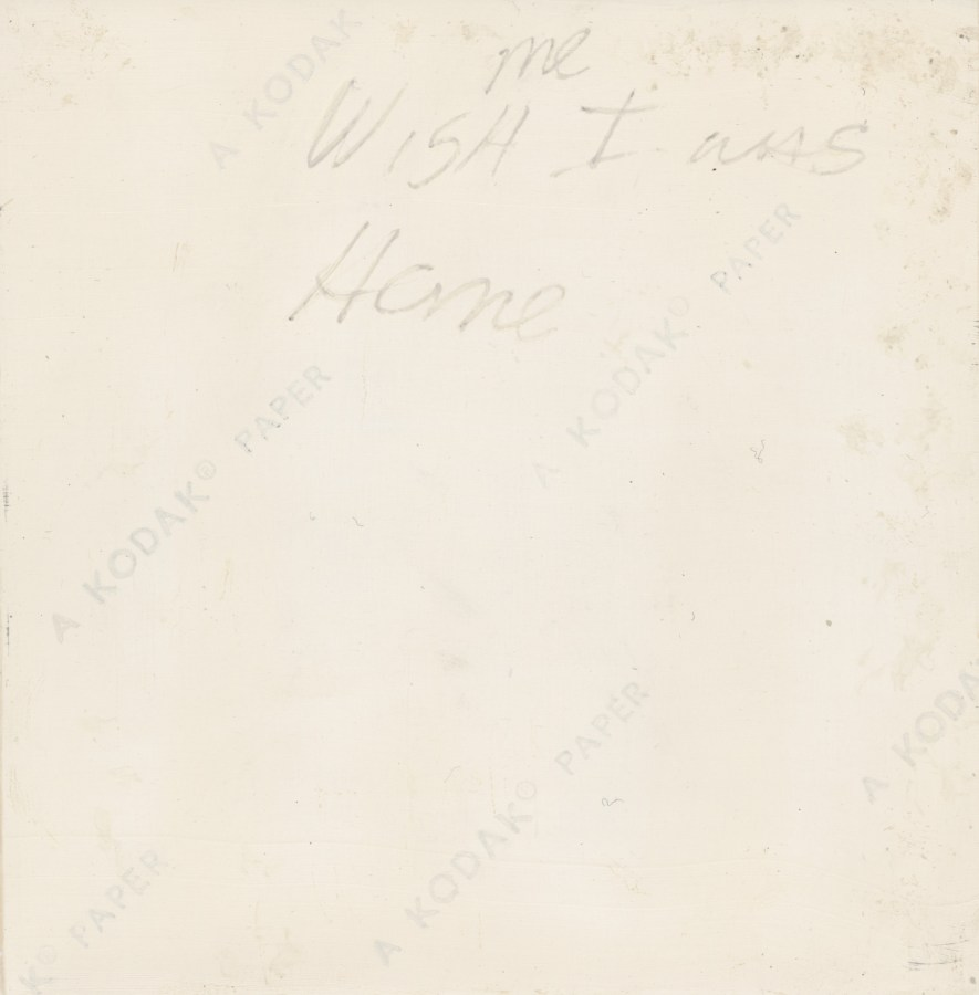 Verso of a painting with writing in pencil and kodak logos
