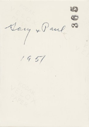 "Verso of painting with ""Gary"" ""Paul"" and ""1951"" written in cursive and ""365"" stamped in the top right corner"
