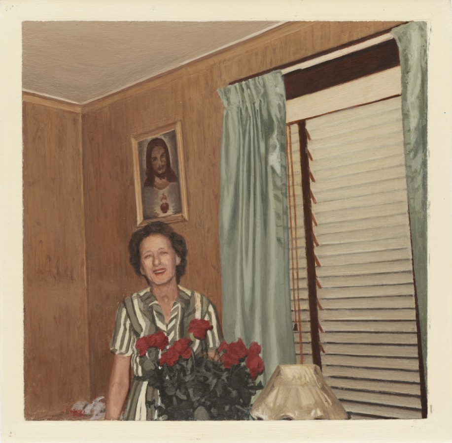 Painting of a woman standing behind a bouquet of roses with a painting of Jesus in the background