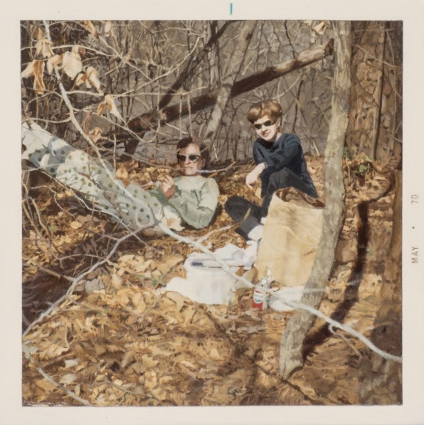 Painting of two people wearing sunglasses having a picnic in a forest