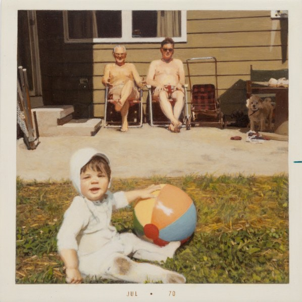 Painting of a baby with a beach ball in the background are two shirtless men in lawn chairs and a dog