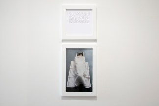 A square framed text panel hanging over a framed photograph of a cat in a coffin