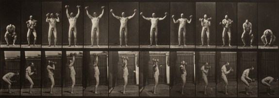 Two horizontal rows of vertical black-and-white photographs of a man standing to lift a weight in each hand, from the front in the top row and from the side in the bottom row