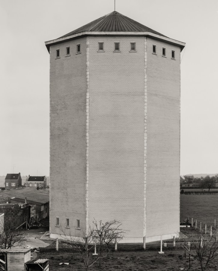 black and white photograph of a water tower