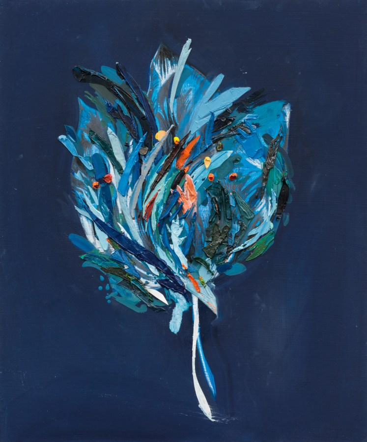 An abstract painting of a lush blue flower on a dark blue ground.