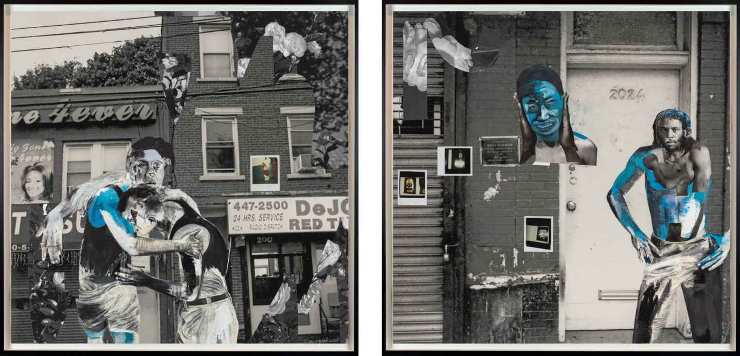 A diptych of two framed collages. The one on the left is of two figures confronting in either an embrace or a fight, and the one on the right is of a figure in front of a building's door. Both are on black and white photographs.