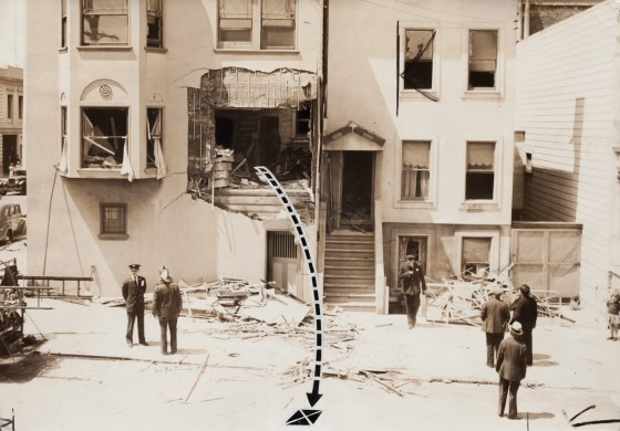 Photographer Unknown, Gas Explosion at home on the corner of Buchanan and Grove, San Francisco, June 6, 1938, gelatin-silver print