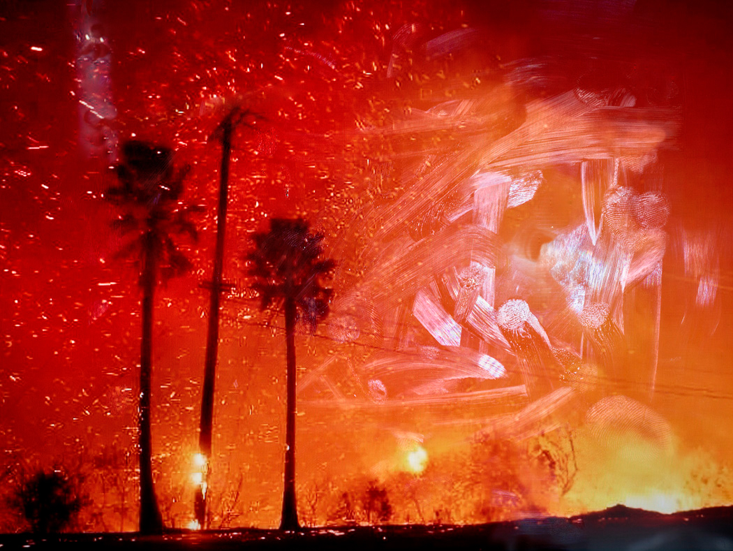 Color photograph of a landscape on fire, seen with smeared fingerprints of an iPad screen.