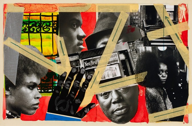 Color collage incorporating photographs of street scenes and portraits of African American men and women