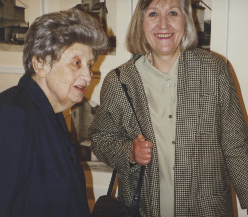 Ileana Sonnabend and Hilla Becher visit the Bechers' exhibition at the gallery in 2003.