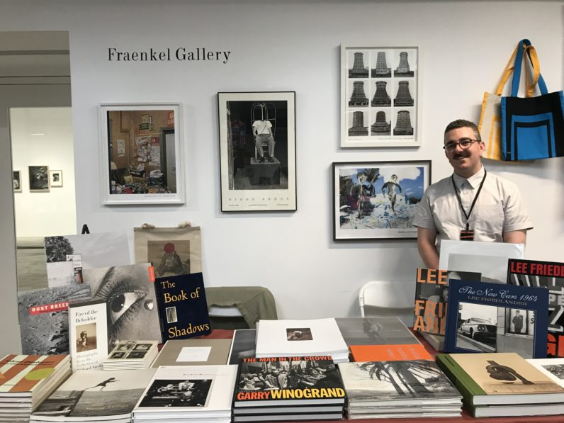 Alexander Goodwin with Fraenkel Gallery publications at San Francisco Art Book Fair, 2019