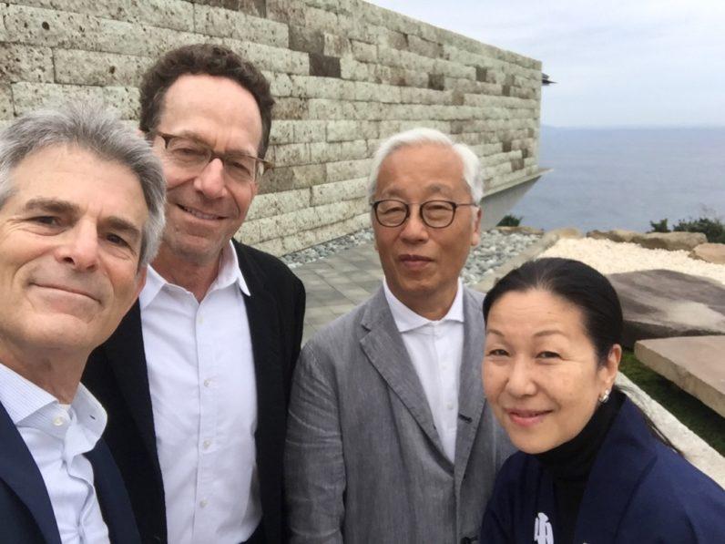 Jeffrey Fraenkel, Alan Mark, Hiroshi Sugimoto, and Atsuko Koyanagi at Sugimoto's Enoura Observatory, Odawara Art Foundation, Japan