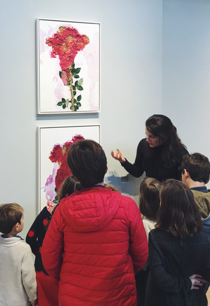 Daphne Palmer discusses Adam Fuss's work with young visitors to the FOG Design+Art Fair, 2019